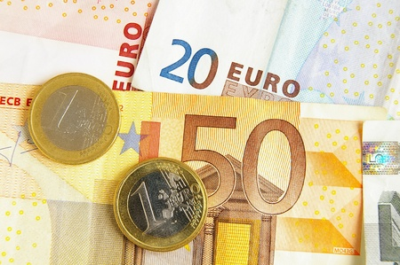 Closeup of Euro money, bills and coins Фото со стока - 11543873