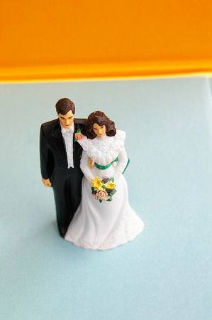 plastic cake topper wedding couple on blue photo