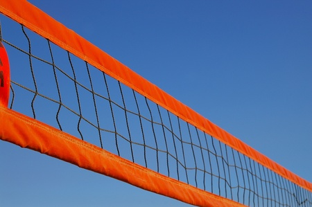 Beach volleyball net against a clear blue sky Stock Photo - 11542132