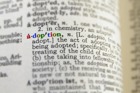 foster: closeup of adoption definition in colorful letters Stock Photo