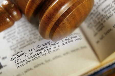 define: closeup of a gavel and divorce definition Stock Photo