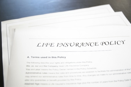 financial insurance: closeup of a life insurance policy