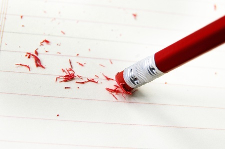 eraser: closeup of a pencil eraser correcting a mistake Stock Photo