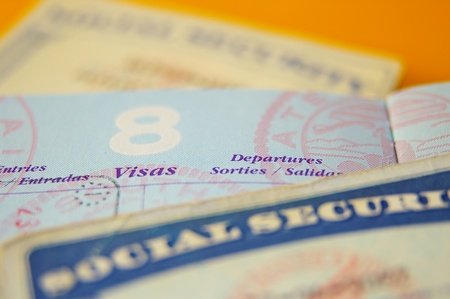 permit: closeup of US government resident legal documents