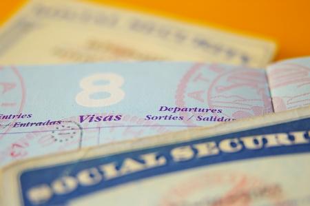 tarjeta visa: primer plano de gobierno de los EE.UU. residen los documentos legales