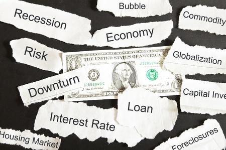 US dollar and negative newspaper headlines photo