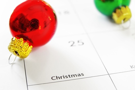 december 25th: Closeup of a calendar showing Christmas day, the  25th