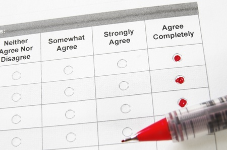 closeup of a survey form with agree remarks checked Stock Photo - 12120260