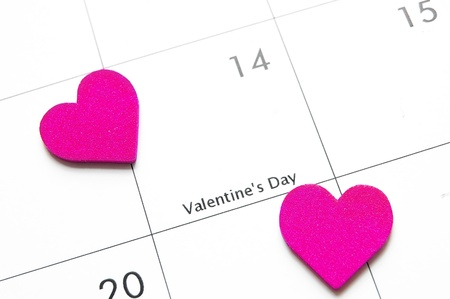 february 14: Valentine calendar macro with pink hearts