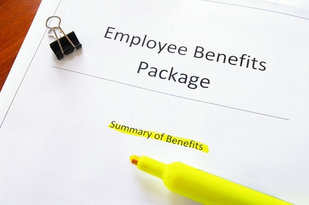 employee benefits document with highlighted text photo