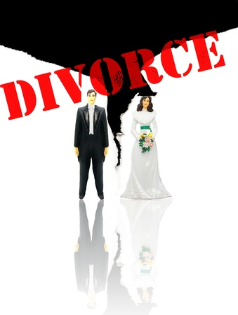 wedding couple figures and ripped paper (divorce concept)