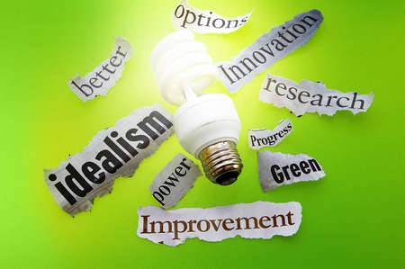 idealism: light bulb and green energy headlines