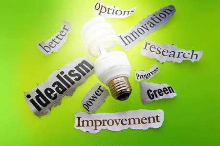 progressive: light bulb and green energy headlines