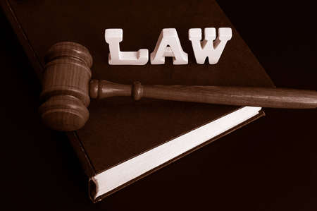 law book, gavel and letters spelling Law Stock Photo