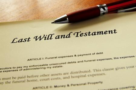 testament: Primer plano de una �ltima voluntad y testamento del documento