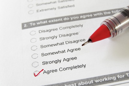 closeup of a survey form, with Agree Completely checked Stock Photo - 13044461