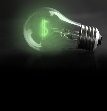 light-bulb with money-sign filament  energy costs Stock Photo - 13038878