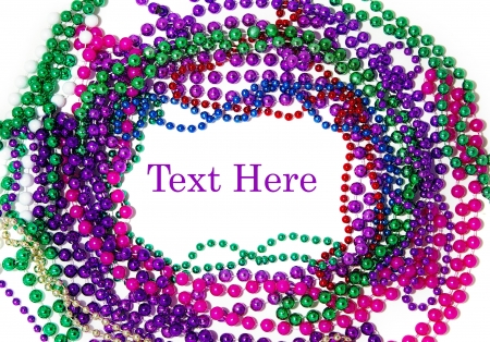 colorful beads: Mardi gras bead border on white background