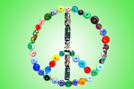 glass bead peace sign