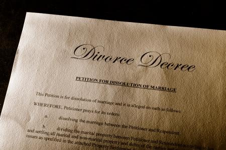 divorce decree document on parchment paper photo
