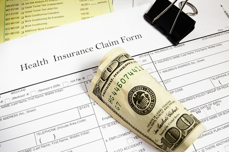 finanical: Medical insurance claim form, bills and cash