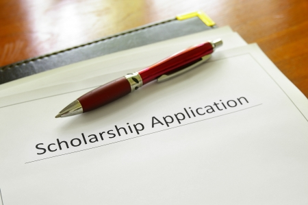 student scholarship application form on a desk photo