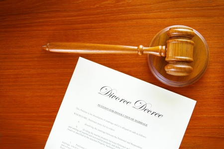 decree: judges gavel and a divorce decree document Stock Photo