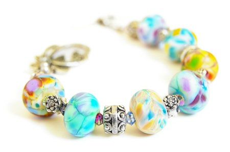 colorful beads: unique bead necklace on white background Stock Photo