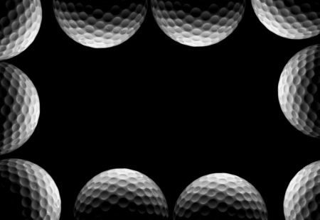 Golf ball border in black and white photo