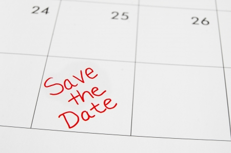 save the date: Closeup of a calendar with Save The Date text Stock Photo