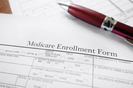 メディケア保険登録フォームのクローズ アップ 写真素材