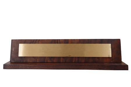 placa bacteriana: Placa ciega nombre de madera, aislado en blanco