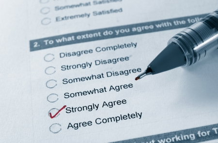 macro of a business survey, with Strongly Agree checked