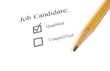 Job candidate check box and a pencil on white                                Stock Photo