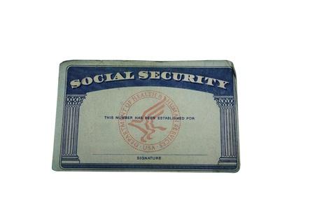 白で隔離される空白の米国社会保障カード 写真素材