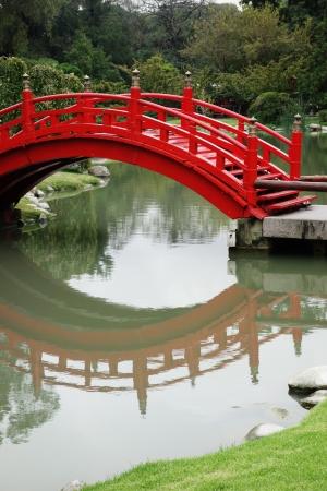 ponte giapponese: Red ponte di legno in un giardino giapponese, Buenos Aires, Argentina