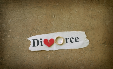 divorce court: Paper scrap with Divorce text, wedding ring and red broken heart