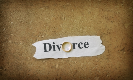 Divorce text on ripped paper with gold wedding band