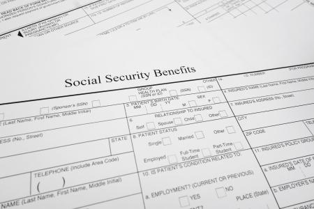 closeup of a Social Security Benefits form                                Stock fotó