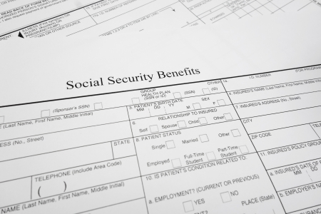 social security: closeup of a Social Security Benefits form                                Stock Photo