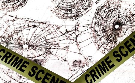 Crime scene police tape across broken glass windows                                photo