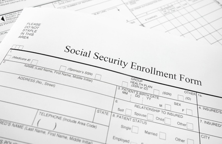 Closeup of a Social Security enrollment form                               photo