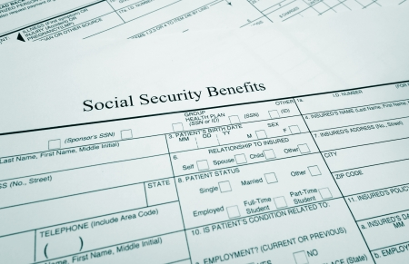 closeup of a Social Security Benefits form                                photo