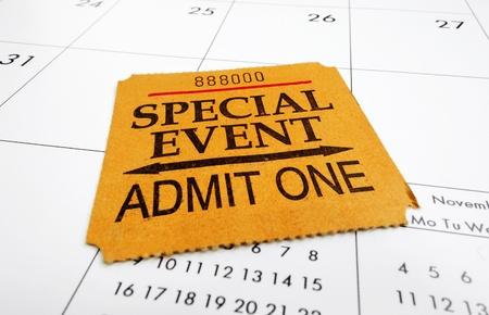 special event: a closeup of a Special Event ticket stub on a calendar