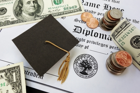 education loan: College or high school diploma with mini mortar board and money