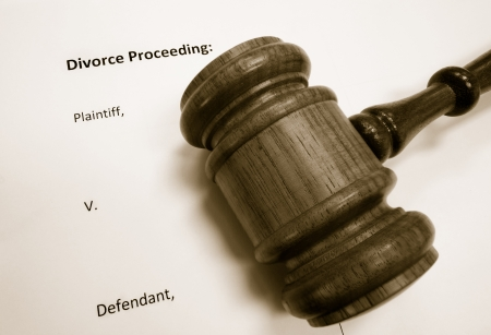 closeup of a legal gavel on divorce document                                photo