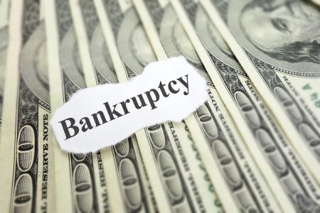 Bankruptcy news headline on cash