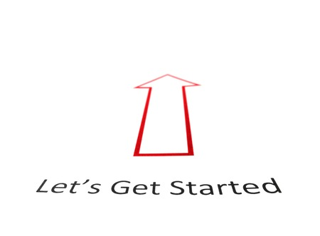 lets: Lets Get Started text with red arrow