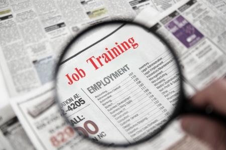 新聞紙の上の虫眼鏡職業訓練本文セクションに分類