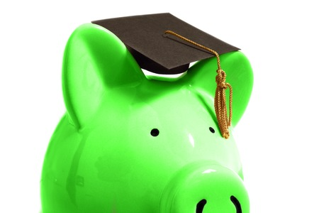 Piggy bank with a graduation cap, on white Stock Photo - 24538256